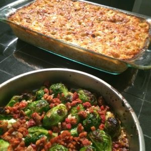 Roasted Brussel Sprouts and Mac n Cheese
