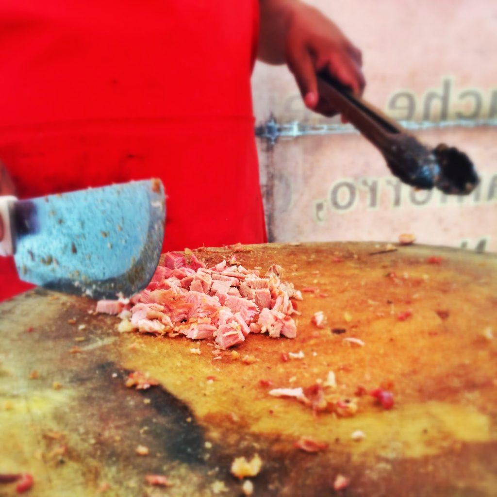 Chopping Carnitas