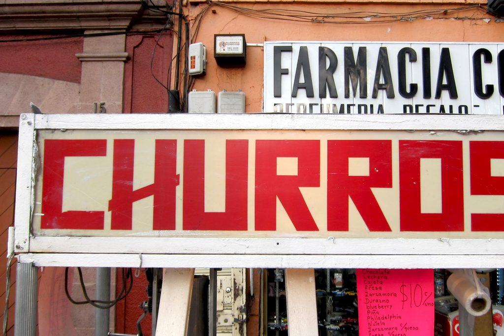 Sign for churros in Coyoacan