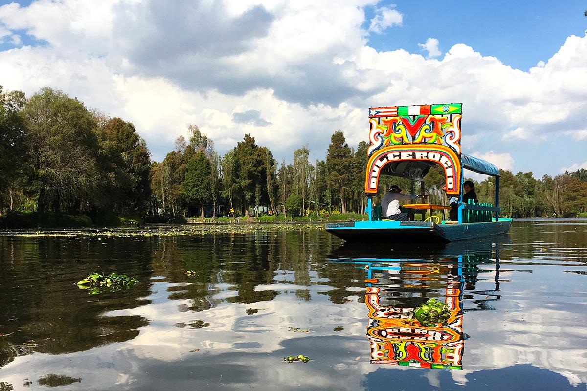 Trajinera on Xochimilco in Mexico City