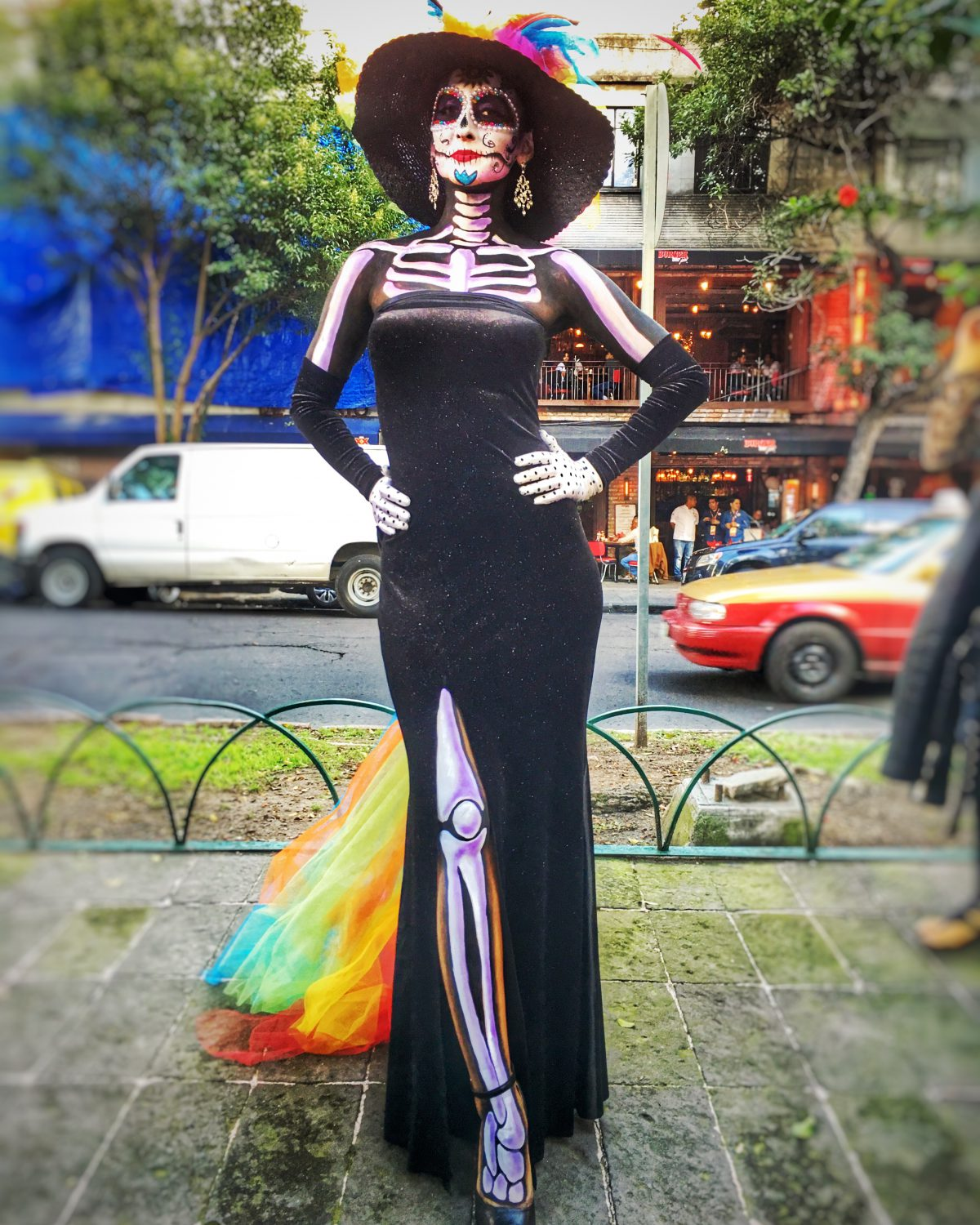 Woman dressed for Day of the Dead as a beautiful Catrina in Mexico City